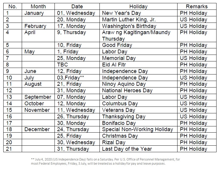 2020 Holiday Schedule Updated